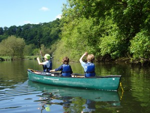 Canoeing on the River Teifi at Fforest campsite