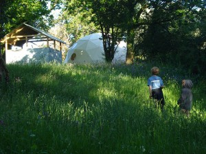 Geodesic domes at Fforest campsite, Wales