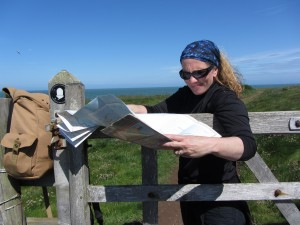 Catherine on Pembrokeshire Coast Path between Whitesands and St Justinian's Bay