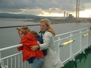 Catherine and family coming into Dublin Port by ferry