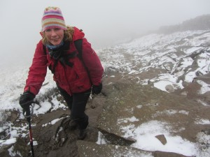 Catherine near the top of a snowy Pen-y-Ghent