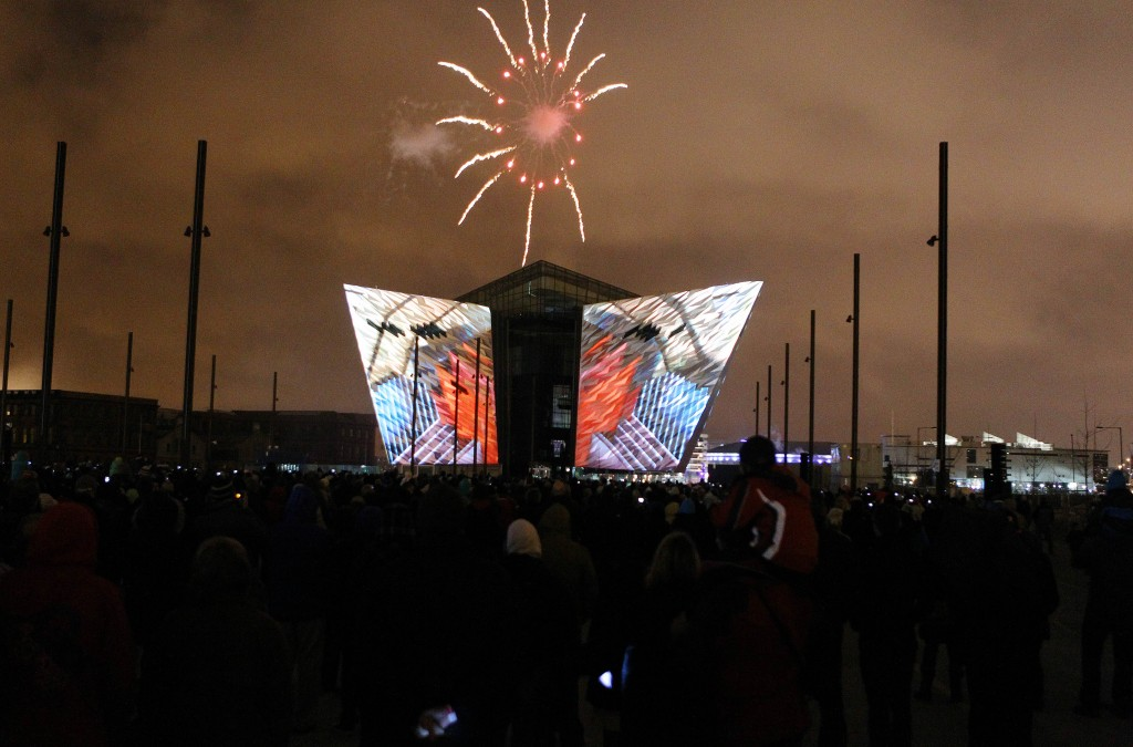 Lightshow and fireworks at Titanic Belfast Photo: Northern Ireland Tourist Board
