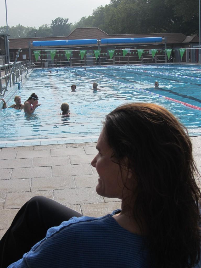 Kate chilling post swim at London Fields lido